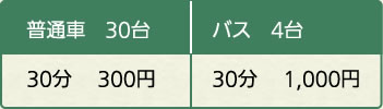 普通車 30台 30分 300円 バス 4台 30分  1,000円